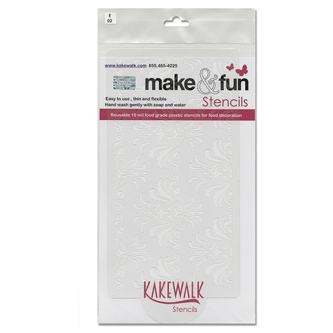 "Damask- Bakery decorating stencil - Rectangle 11""x6"""